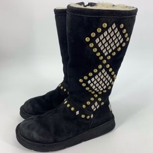 UGG Avondale Black Studded Tall Boots 8